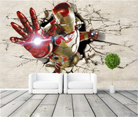 Wholesale Free Print Backgrounds - 3D View Iron Man Wallpaper Giant Wall Murals Cool Photo Wallpaper Boys Room decor TV background Wall Bedroom Hallway Kids Room Free shipping