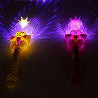Wholesale Party Supplies Clown - Wholesale- Fashion Light-Up Girls Princess Fairy Projection LED Clown Magic Wand Stick Flashing Toy Children's Day Party Supplies Gift