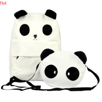 Wholesale Womens Backpack Fashion Bags Canvas - Fashion Backpacks Korean Style Womens Lovely Panda Canvas Backpack With Small Panda Crossbody Shoulder Composite Bags White Schoolbag 6299