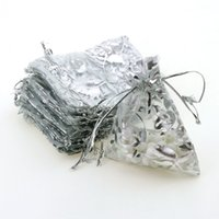 Wholesale bamboo tulle - Wholesale- 7x9cm Silver Rose Bronzing Organza Jewelry Popular Bags Small Drawstring Pouches Pochette Tulle Bonbon 100pcs lot Wholesale