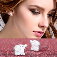 2017 Mais vendidos Stud lindo de elefante Prata de prata Cute Animal Elefante Stud Earrings Jóias Pet Kids Women Earrings