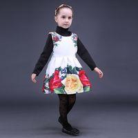 vestido de fantasia inverno venda por atacado-Pettigirl Outono E Inverno Varejo New White Rose Meninas Vestidos de Festa Com Florais no Ombro Fantasia Roupas Crianças GD80928-23