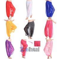 Wholesale Harem Pants Women Zebra - Women Sequin Shinny Belly Dance Harem Pant Chiffon Loose Costume Bloomer Trouser 6Color