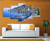 ingrosso pittura di barche art-5 pezzi Spedizione gratuita Vendita calda Modern Home Decorativo Pittura murale Picture Art Pittura su tela Stampe Una città moderna in riva al mare Piccola barca