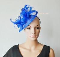 fascinator azul sombreros al por mayor-Sombrero fascinator de Sinamay azul real para las carreras de Ascot derby de Kentucky.