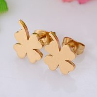 Wholesale Clover Nose Rings - Clover Stainless Steel Stud Earring Gold Color Women Earring Never Fade 019