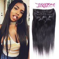 Wholesale Indian Hair Weave Clip - Peruvian Clip In Hair Extensions Silky Straight Human Hair Weave Unprocessed Natural Beauty Hair Extensions Natural Color