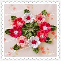 Wholesale wedding flowers pics - 2016 Japanese Popular 24 Pics Natural Cotton Crochet Lace Decorative Wedding Flower With Petals Party Decoration Cherry Blossom