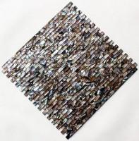 Wholesale Pearl Shell Tiles - Coffee Strip tiles pearl mosaic tiles mother of pearl shell mosaic tiles home decoration living room kitchen back splash shell tiles FedEx