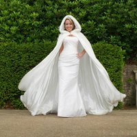 Wholesale Cheap Wedding Dresses Trim - 2015 new collection winter Wedding Cloak Cape Hooded with Fur Trim Long white Bridal Jacket free shipping cheap price Dress accessories