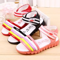 Wholesale Sandals 21 - J.G Chen 2015 New Mixed Colors Summer Sandals For Girls Little Small Kids Stripe Soft Bottom Children Shoes 3 Colors Size 21-25