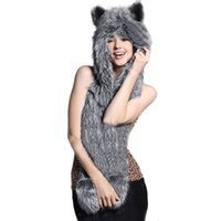 Wholesale Hats Glove - Wholesale-20% OFF 2015 Warm Winter Faux Animal Fur Hat Fluffy Scarf Shawl Glove Plush Cap Gloves Hats Xmas a2