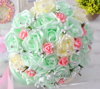 Wholesale Wedding Bouquets Free Shipping - Free Shipping Cheap Mint Bridal Wedding Bouquet Wedding Decorations Artificial Bridesmaid Flower Bride Holding Flower With Beading