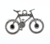 Wholesale European Bead Earrings Wholesale - 200PCs Vintage Silver Bicycle Charms Pendants For DIY Bracelet Necklace Earrings Jewelry Making Findings Handcraft Gifts Accessories A015