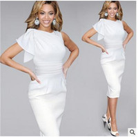 Wholesale One Size Ladies Clothing - Sexy Club Dress 2016 Women Night Party Dresses Ruffle Sleeve One Shoulder Summer Ladies Work Wear Office Bodycon Dress Plus Size Clothes