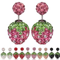 Wholesale strawberry jewelry for sale - Group buy Sweet Strawberry Double Sided Stud Earrings Women Lady Crystal Rhinestone Earrings Fashion Fine Jewelry Perfect Gift DC24