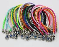 Wholesale leather bracelets resale online - Hot HAMSA HAND quot Turkey eyes quot Mixed Leather Bracelet Lucky Charm Pendant cm