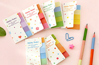 Wholesale Rainbow colored double sided color sticker notes notebook scratchpad self adhesive sticker memo pad N times stickers
