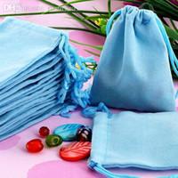 Wholesale Organza Velvet Bags - Wholesale-Free Shipping 100Pcs 7x9cm Blue Velvet Drawstring Organza Pouch Bag Jewelry Bag,Christmas Wedding Gift Bag #90026