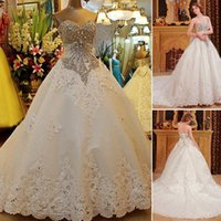 Wholesale Short Strapless Lace Up Corset - Custom made 2015 Luxurious A-line Bridal Gown Beaded Crystal Corset Lace Edge Sweetheart Spring Wedding Dresses Vintage Plus Size Brides new