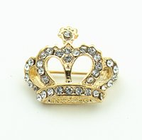 Unisex pageant pins - 1 Inch Gold Plating Clear Rhinestone Crystal Diamante Crown or Tiara Jewelry Gift Pin Brooch for Pageant