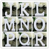 ahşap alfabe mektupları toptan satış-Sıcak Ev Bahçe Çevre Dostu Kalın Ahşap Ahşap Beyaz Mektuplar Alfabe Düğün Doğum Günü 8 cm X 1.2 cm Dekor Dekorasyon