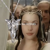 Wholesale Lotr Arwen Necklace - Free DHL Shipping 300pcs LoTR The Lord Jewelry Arwen Evenstar Twilight Star Pendant Necklace,Fashion movie necklace
