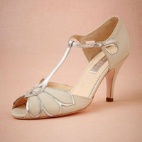 Vintage Ivory Wedding Shoes Bombas de casamento Mimosa T-Straps Buckle Closure Leather Party Dance 3.5
