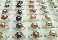 Wholesale Natural Pearls Wedding Sets - Hot sales flowers The crystal Natural pearl ring ring girl woman The best gift Mixed colors 10pcs lot