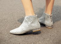 Wholesale Soles Short Woman - must have!b054 34 genuine leather glitter diamond sole flat short boots navy silver