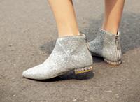 Wholesale Diamond Bowtie - must have!b054 34 genuine leather glitter diamond sole flat short boots navy silver
