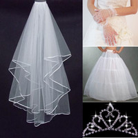 Wholesale White Veil Crown - 2015 New Bridal Veil Ivory Ribbon Edge Ivory Gloves Crown 3 Hoops Petticoats 4 Pieces in One Sets Bridal Accessories Dhyz 01