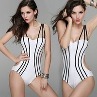 Wholesale Red White Striped Bikini - Sexy Plus Size Swimwear Women One Piece Swimsuit Women's Strap Stripe Bodysuit Bikini Bathing Suit B6