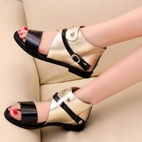 Wholesale Low Price Silver Heels - 2015 Factory Price New Leisure Square Low Heel Buckle Summer Shoes Patchwork Punk Style Gold Silver Sandals Big Size 34-43