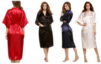Wholesale Half Kimono Robe - Fashion Women's Solid Silk Kimono Robe for Bridesmaids, Wedding Party Night Gown Pajamas,5 colors available Free Shipping