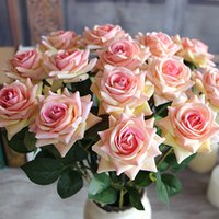 Wholesale Fake Flowers Arrangements - Wholesale-Red Valentine's Velvet Rose Artificial Fake Flower Arrangement Bouquet Room Wedding Hydrangea Decor