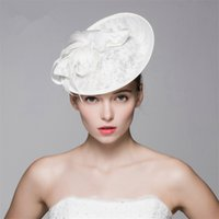 Wholesale Lace Headbands Caps - Vintage New Church Derby Vintage Wedding Bridal Fascinator White Pillbox Lace Flower Hat Cap Headband Crown Tiara Headpieces