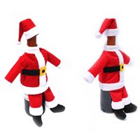 Wholesale Toppers Hats Wholesale - New Christmas Santa Bottle Covet Suit Hat Wine Bottle Wrap Cover Wine Packing Topper Pouch Bag,2pcs Set