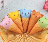 cell phone lanyards wholesale 2018 - Free Ship 30pcs 8*4cm Cute 3D Caroon Bear Squishy Icecream Food Charm Cell Phone Straps Fashion Squishies Pendant Chirstmas Gift