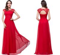 nedime elbiseli uzun kollu kırmızı toptan satış-Kırmızı Dantel Kristal Boncuk Şifon Abiye 2016 Sheer Jewel Boyun Cap Kollu Hollow Geri Uzun Gelinlik Modelleri Vestidos Nedime Abiye