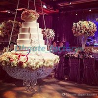 Wholesale Crystal Chandeliers For Wedding Decorations - Round D60 Crystal chandelier cake stand hanging with crystal beaded cake table for wedding decoration