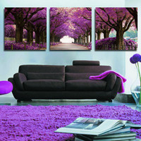 Wholesale Framed Wall Decor Sets - 3 Set Paintings Wall Art Beautiful Purple Tree Road Abstract Oil Painting Wall Decor Picture Print On Canvas(No Frame)