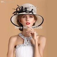 Vente en gros-Nouvelle Elégant Linen Fedora Hat Sombrero Pour Church Women / Wedding Party / Chapeu Outdoor Cappelli Retro British Grand capeline