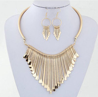 Wholesale Golden Earrings 18k - 2015 Fashion Europen Bijoux Jewelry Set Trendy Chunky Tassel Necklaces & Pendants Jewelry Sets Women Earing and Necklace Sets