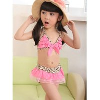 Wholesale Toddler Two Piece Bikini - 2016 Fashion Baby Toddler Girls Kids Swimwear Leopard Bikini Swimsuit + Skirt + Hat bikini101