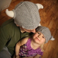Wholesale Kids Knit Viking Hats - 2016 Children's winter hats handmade crocheted Viking horns hat knitted kids hat free shipping1481