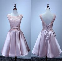 Reference Images A-Line Scoop 2016 Cute Pink Short Dress Sleeveless Lace Applique Taffeta Prom Dresses With Bow Ribbon Hot Evening Party Gowns Free Shipping Free Shipping