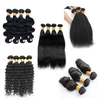 brezilya kıvırcık saç uzantıları toptan satış-Brezilyalı Virgin Saç Vücut Wave 4 Paketler 8-28 inç Remy İnsan Saç Dokuma Düz Gevşek Derin Jerry Kıvırcık Kinky Düz Saç Uzantıları