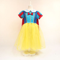 Wholesale Princess Snow - princess snow white dress girl snow white costume kids stage performance dress snow white cape free shipping in stock