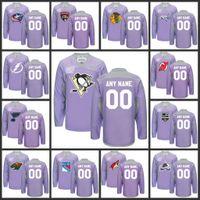 Wholesale Custom Nhl Hockey Jerseys - Custom Purple Fights Cancer Practice Mens NHL 2016 Hockey Jerseys Any Team Any Name Any Number Size M-XXXL